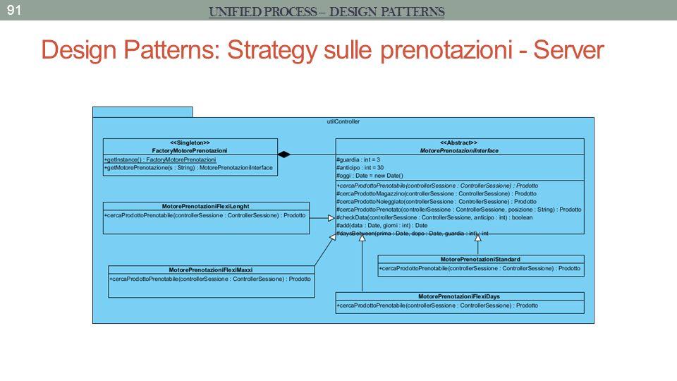 Design Patterns: Strategy sulle prenotazioni - Server 91 UNIFIED PROCESS – DESIGN PATTERNS