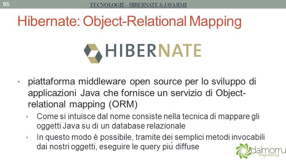 Hibernate: Object-Relational Mapping piattaforma middleware open source per lo sviluppo di applicazioni Java che fornisce un servizio di Object- relat