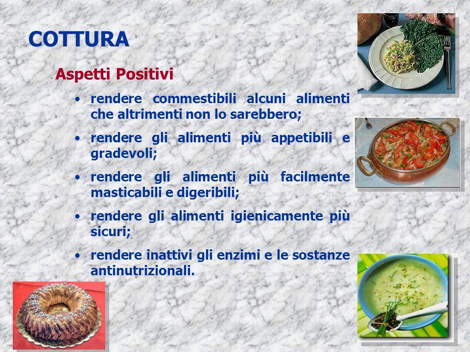 3 COTTURA Aspetti Positivi rendere commestibili alcuni alimenti che altrimenti non lo sarebbero; rendere gli alimenti più appetibili e gradevoli; rend