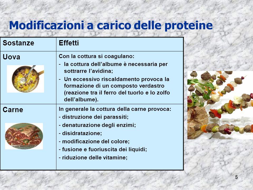 5 Modificazioni a carico delle proteine SostanzeEffetti Uova Con la cottura si coagulano: -la cottura dellalbume è necessaria per sottrarre lavidina;