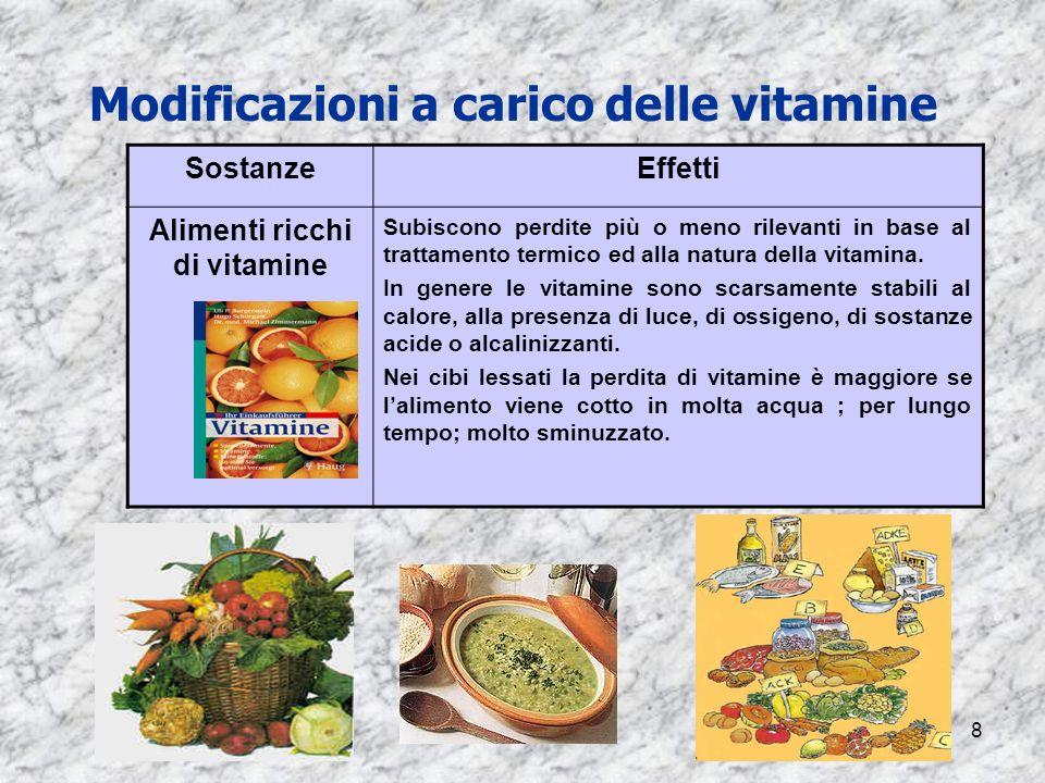8 Modificazioni a carico delle vitamine SostanzeEffetti Alimenti ricchi di vitamine Subiscono perdite più o meno rilevanti in base al trattamento term