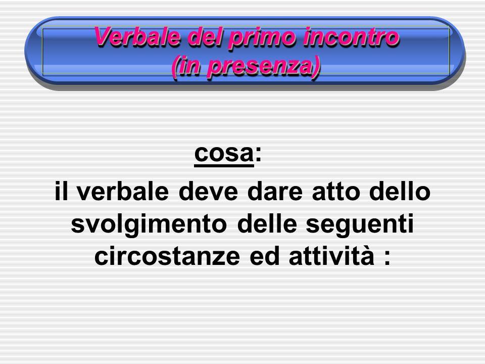 Verbale del primo incontro (in presenza) cosa: il verbale deve dare atto dello svolgimento delle seguenti circostanze ed attività :