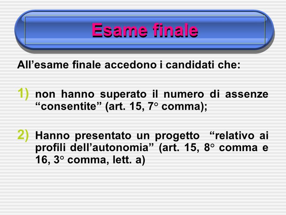 Esame finale Allesame finale accedono i candidati che: 1) non hanno superato il numero di assenze consentite (art.