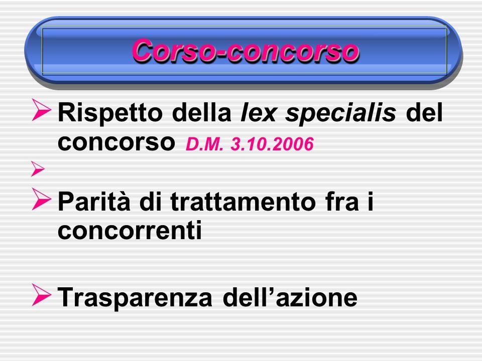 Corso-concorsoCorso-concorso Rispetto della lex specialis del concorso D.M.
