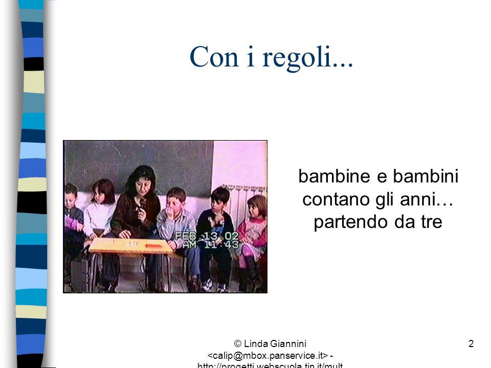 © Linda Giannini - http://progetti.webscuola.tin.it/mult ilab/lati07/ 2 Con i regoli... bambine e bambini contano gli anni… partendo da tre