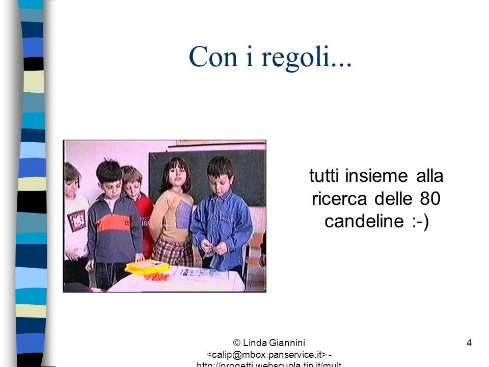 © Linda Giannini - http://progetti.webscuola.tin.it/mult ilab/lati07/ 4 Con i regoli... tutti insieme alla ricerca delle 80 candeline :-)