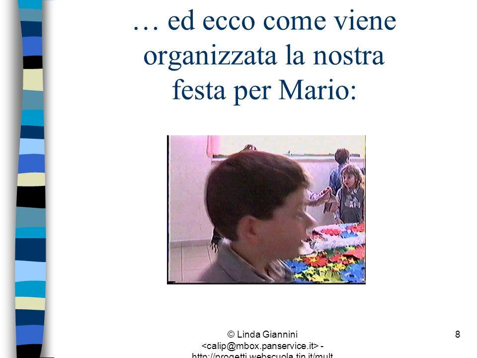 © Linda Giannini - http://progetti.webscuola.tin.it/mult ilab/lati07/ 9 … ed ecco come viene organizzata la nostra festa per Mario: