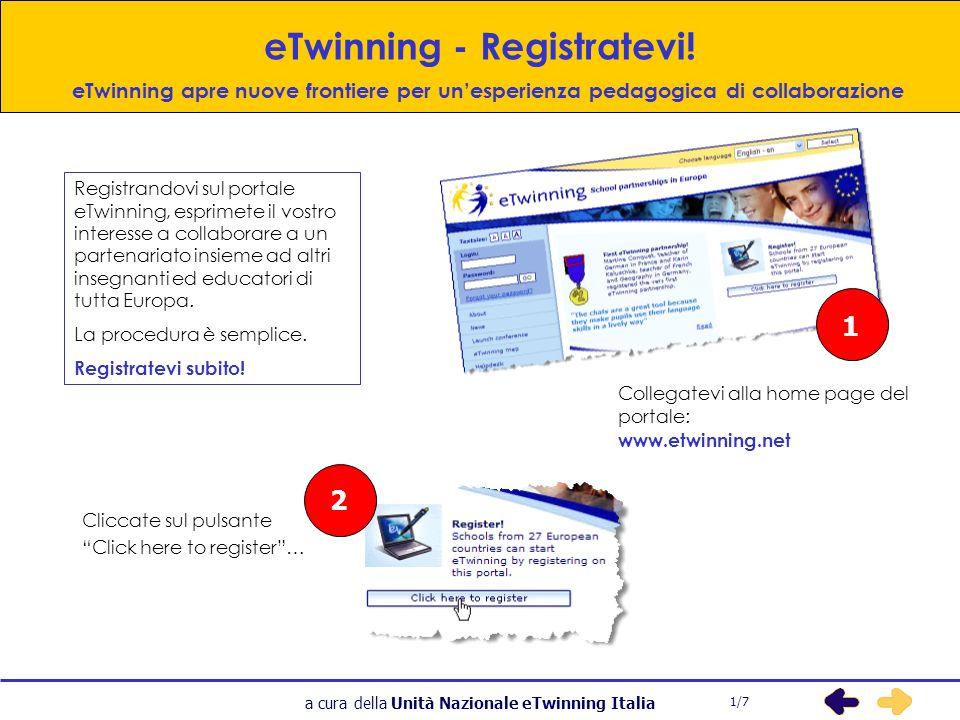a cura della Unità Nazionale eTwinning Italia eTwinning - Registratevi.