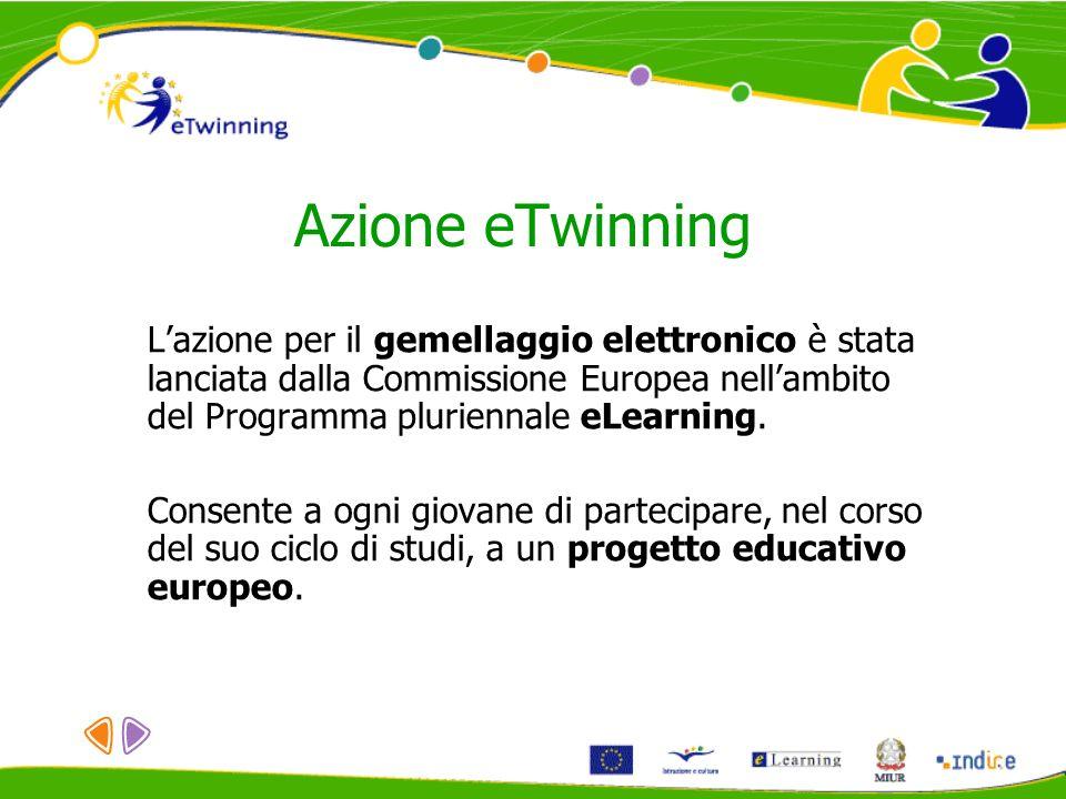 Azione eTwinning Lazione per il gemellaggio elettronico è stata lanciata dalla Commissione Europea nellambito del Programma pluriennale eLearning. Con