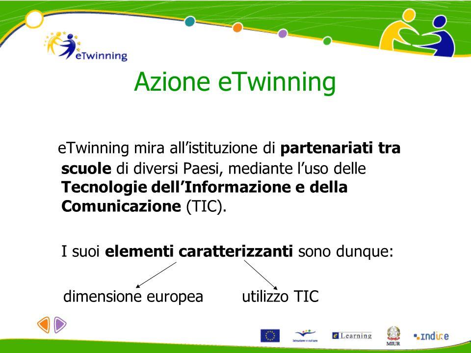Azione eTwinning eTwinning mira allistituzione di partenariati tra scuole di diversi Paesi, mediante luso delle Tecnologie dellInformazione e della Co