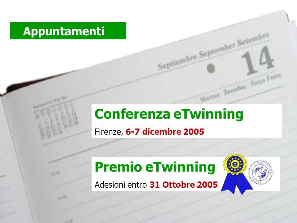 Premio eTwinning Adesioni entro 31 Ottobre 2005 Conferenza eTwinning Firenze, 6-7 dicembre 2005 Appuntamenti