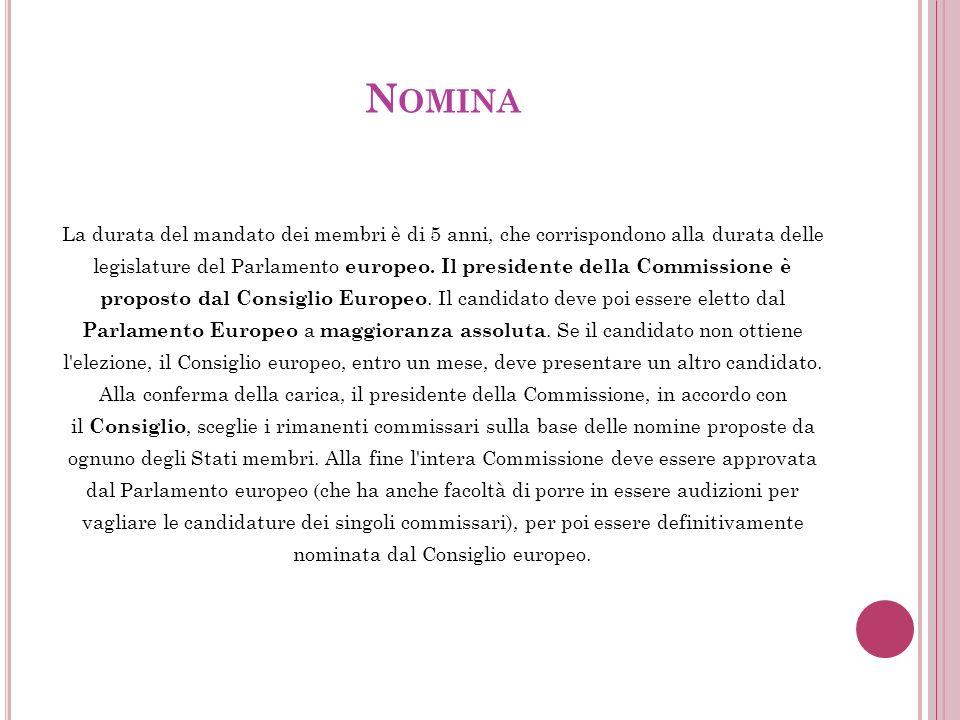 N OMINA La durata del mandato dei membri è di 5 anni, che corrispondono alla durata delle legislature del Parlamento europeo.