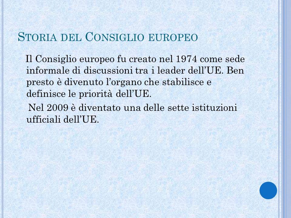 S TORIA DEL C ONSIGLIO EUROPEO Il Consiglio europeo fu creato nel 1974 come sede informale di discussioni tra i leader dellUE.
