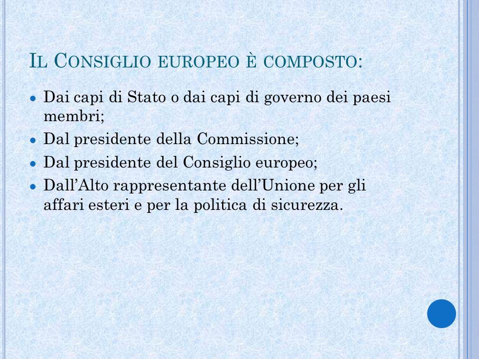 I L C ONSIGLIO EUROPEO È COMPOSTO : Dai capi di Stato o dai capi di governo dei paesi membri; Dal presidente della Commissione; Dal presidente del Consiglio europeo; DallAlto rappresentante dellUnione per gli affari esteri e per la politica di sicurezza.