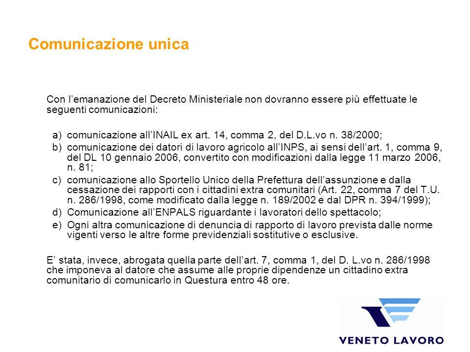 Comunicazione unica Con lemanazione del Decreto Ministeriale non dovranno essere più effettuate le seguenti comunicazioni: a)comunicazione allINAIL ex art.