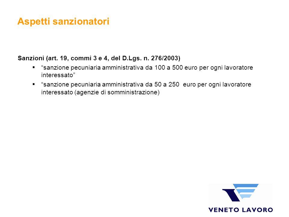 Aspetti sanzionatori Sanzioni (art. 19, commi 3 e 4, del D.Lgs.