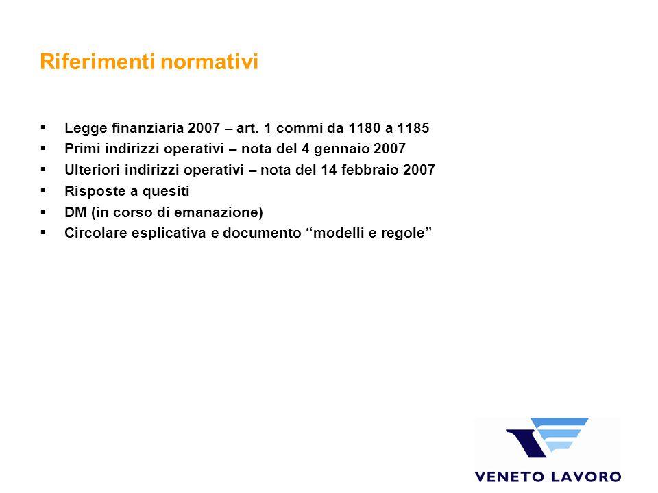 Riferimenti normativi Legge finanziaria 2007 – art. 1 commi da 1180 a 1185 Primi indirizzi operativi – nota del 4 gennaio 2007 Ulteriori indirizzi ope