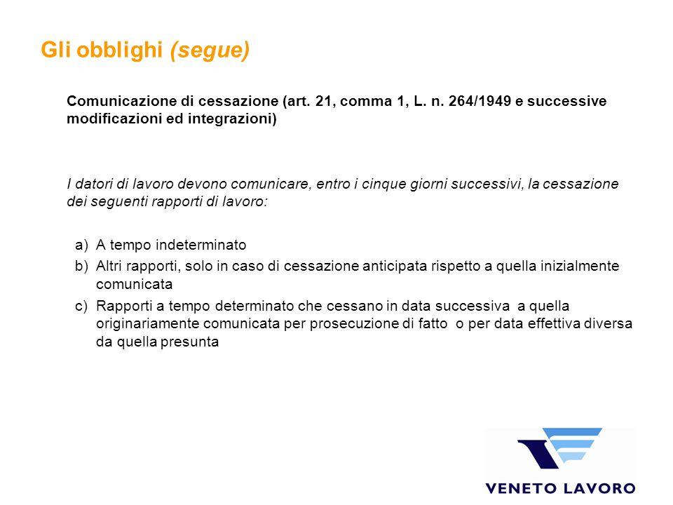 Gli obblighi (segue) Comunicazione di cessazione (art. 21, comma 1, L. n. 264/1949 e successive modificazioni ed integrazioni) I datori di lavoro devo