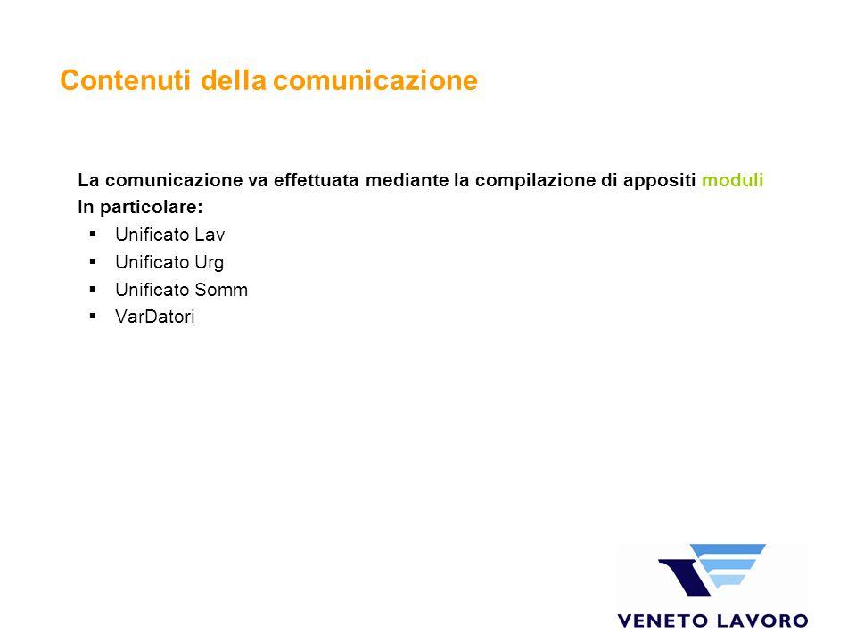 Contenuti della comunicazione La comunicazione va effettuata mediante la compilazione di appositi moduli In particolare: Unificato Lav Unificato Urg Unificato Somm VarDatori