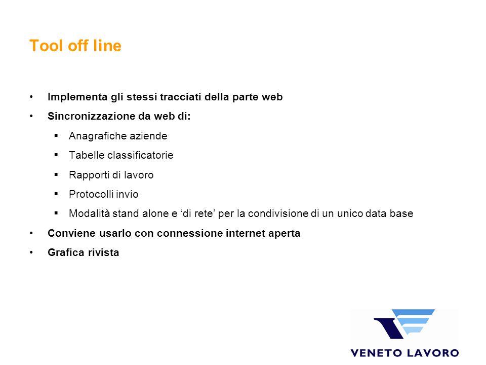 Tool off line Implementa gli stessi tracciati della parte web Sincronizzazione da web di: Anagrafiche aziende Tabelle classificatorie Rapporti di lavo