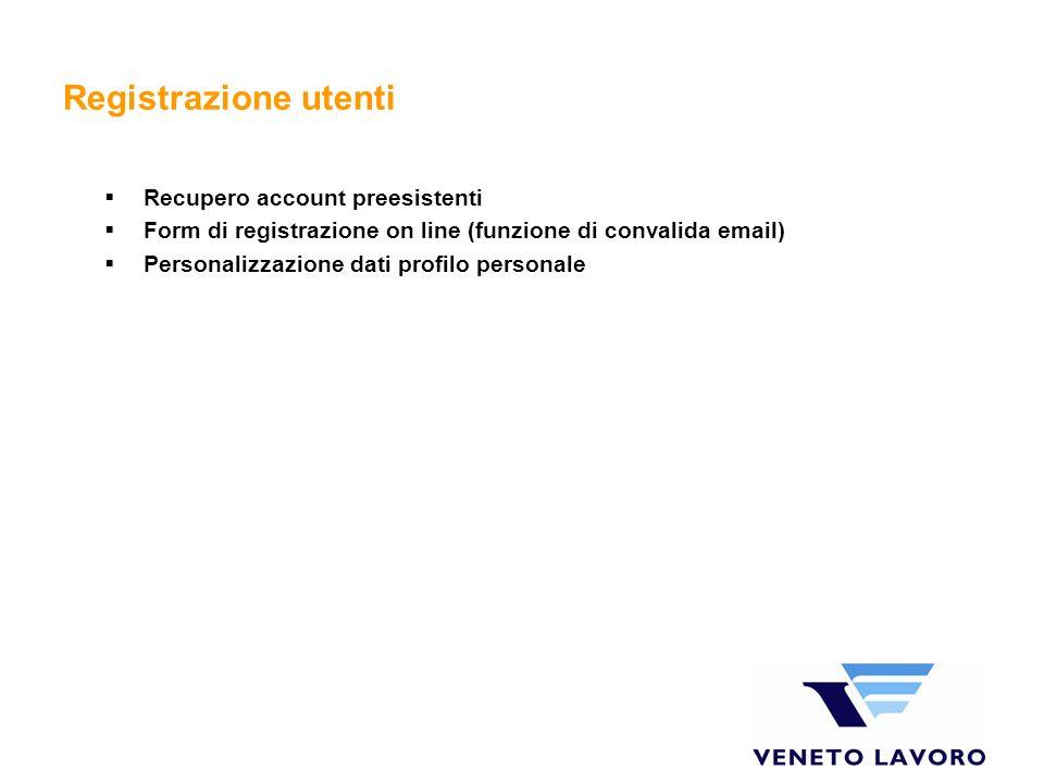 Registrazione utenti Recupero account preesistenti Form di registrazione on line (funzione di convalida email) Personalizzazione dati profilo personale