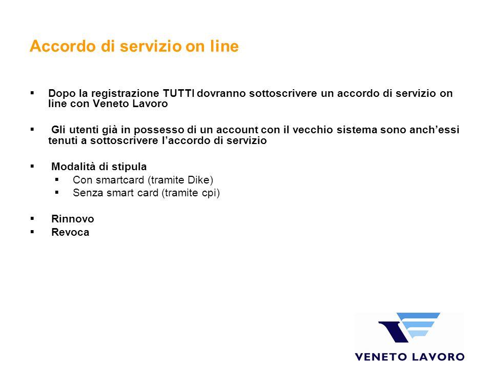 Accordo di servizio on line Dopo la registrazione TUTTI dovranno sottoscrivere un accordo di servizio on line con Veneto Lavoro Gli utenti già in poss