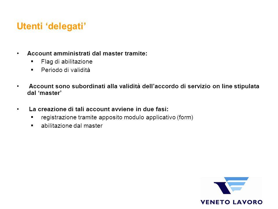 Utenti delegati Account amministrati dal master tramite: Flag di abilitazione Periodo di validità Account sono subordinati alla validità dellaccordo d