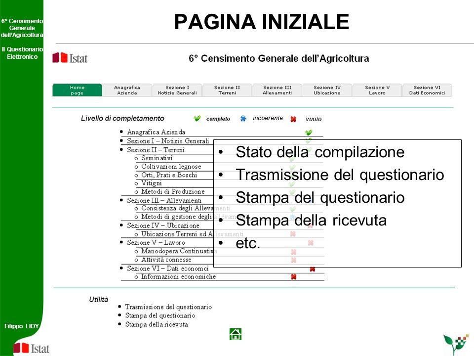 6° Censimento Generale dellAgricoltura Il Questionario Elettronico Filippo LIOY 6° Censimento Generale dellAgricoltura Il Questionario Elettronico Fil