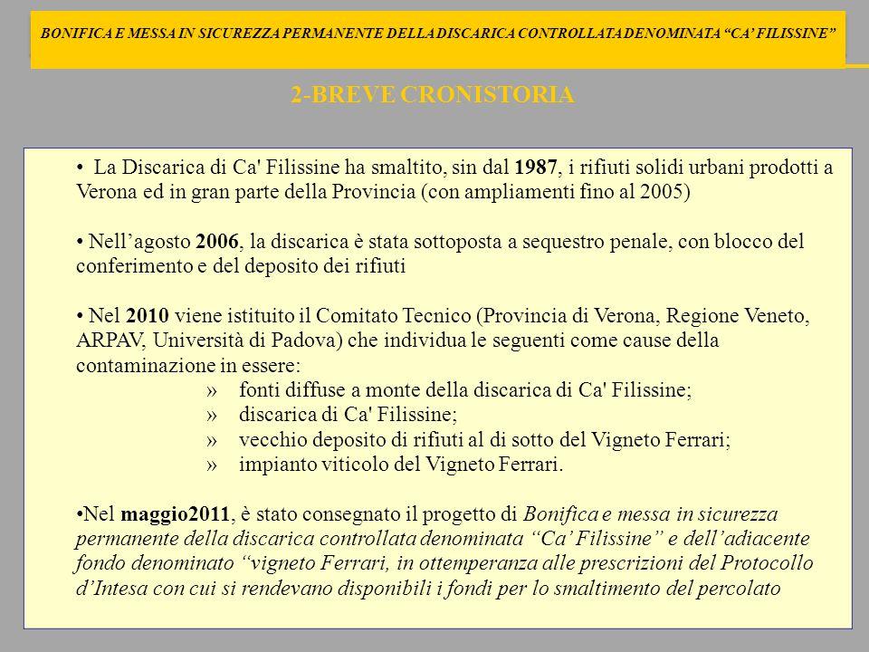 3-BREVE CRONISTORIA Nel settembre 2012 il Tribunale di Verona con sentenza n.2112/2012 dispone che il Comune proprietario attui, sotto il controllo e in coordinamento con l ARPAV, gli interventi necessari ad evitare ulteriori infiltrazioni in falda (art.