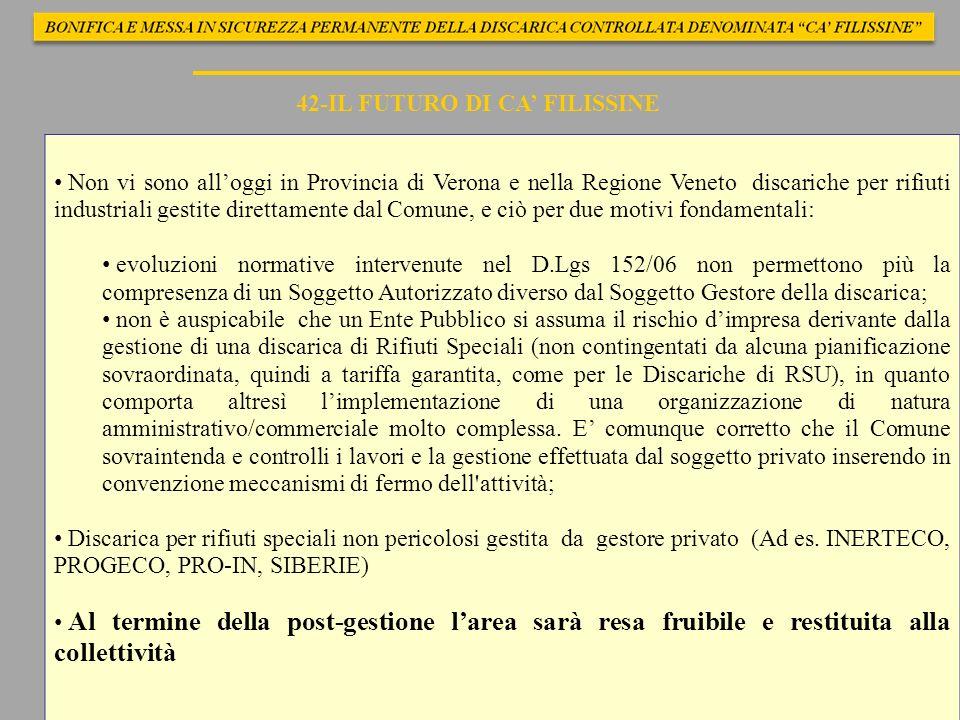 42-IL FUTURO DI CA FILISSINE Non vi sono alloggi in Provincia di Verona e nella Regione Veneto discariche per rifiuti industriali gestite direttamente