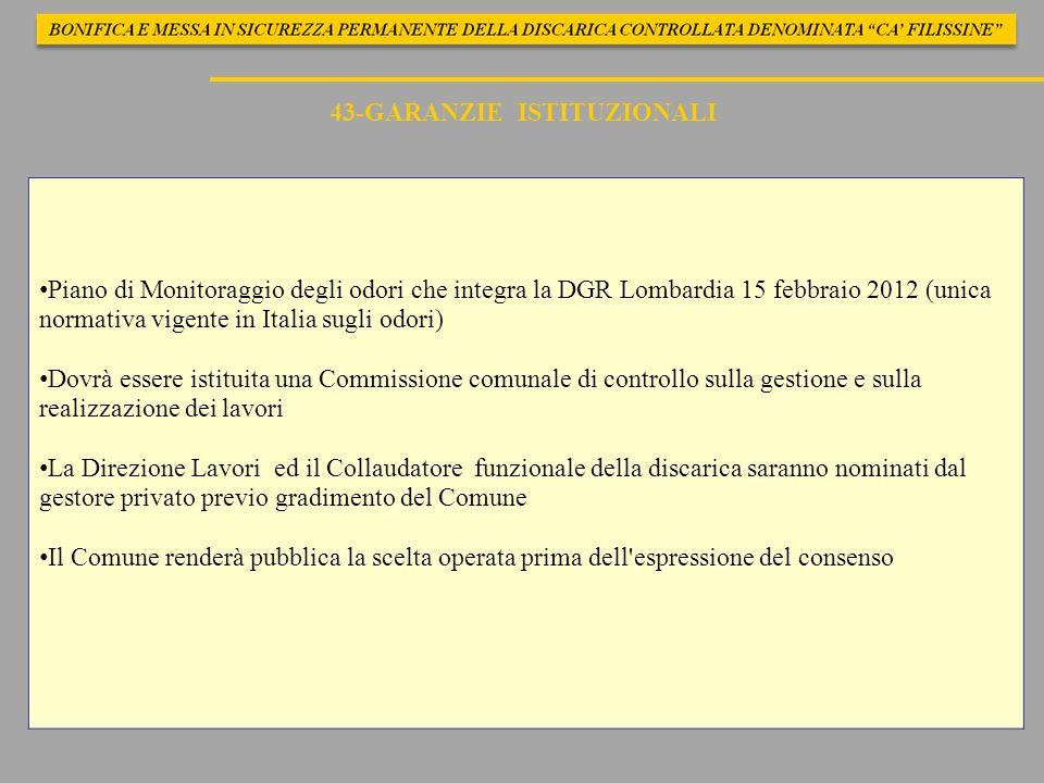 43-GARANZIE ISTITUZIONALI Piano di Monitoraggio degli odori che integra la DGR Lombardia 15 febbraio 2012 (unica normativa vigente in Italia sugli odo
