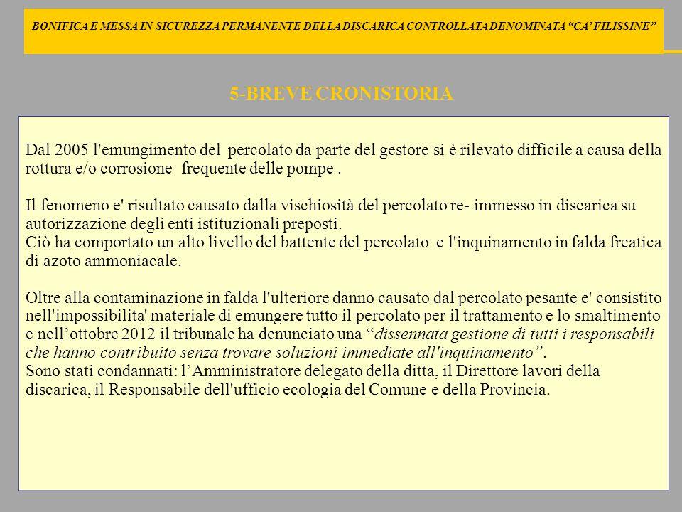 E DELLADIACENTE FONDO DENOMINATO VIGNETO FERRARI DAL 2006 AL 2011 SI ATTUANO TUTTA UNA SERIE DI AZIONI: NON VIENE PIU REIMMESSO PERCOLATO CONCENTRATO REALIZZAZIONE NUOVI POZZI DI EMUNGIMENTO DEL PERCOLATO ASPORTAZIONE MASSICCIA DI PERCOLATO (OLTRE 220.000 MC PER CIRCA 8.000.000 ) REALIZZAZIONE DELLA BARRIERA IDRAULICA: attivata per risolvere il fenomeno di contaminazione, ha di fatto determinato un richiamo di inquinanti nella falda freatica; è stata interrotta ad agosto 2011 e nella conferenza di servizi del giugno 2013 si è convenuto sulla sua inutilità.