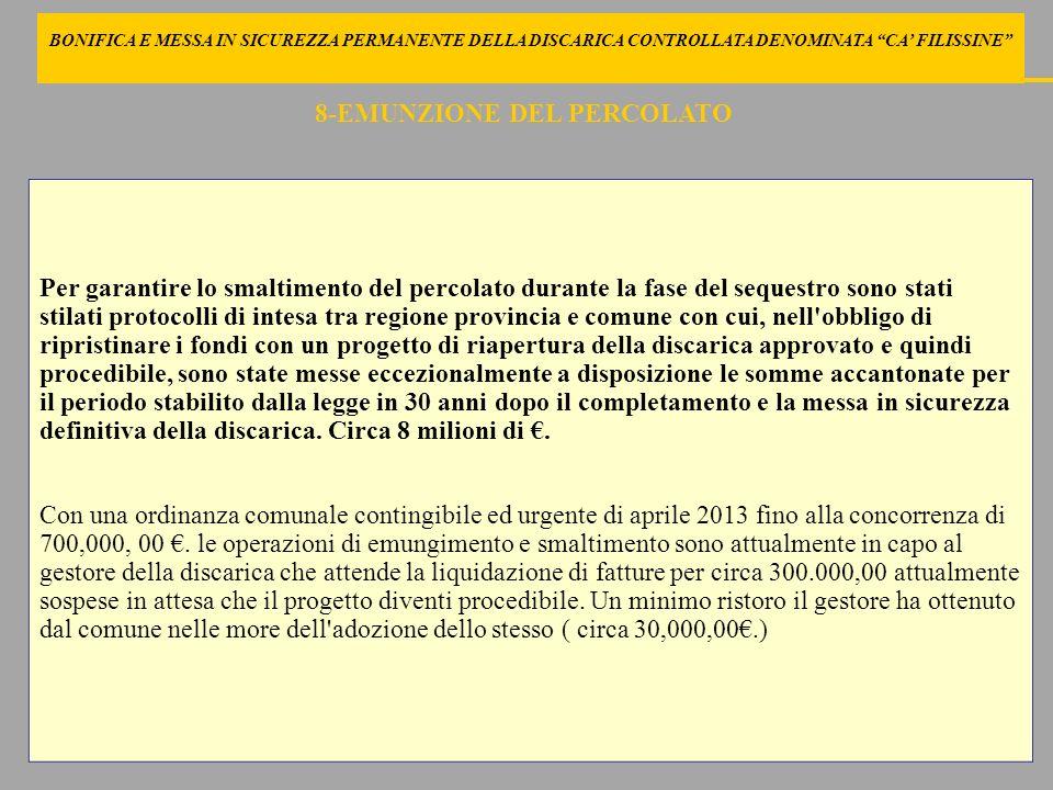 BONIFICA E MESSA IN SICUREZZA PERMANENTE DELLA DISCARICA CONTROLLATA DENOMINATA CA FILISSINE COMPRENDERE LE RAGIONI DEL PROGETTO VERIFICARNE I DISAGI PROMUOVERE LA VERIFICA DI POSSIBILI AZIONI CORRETTIVE 19 -AZIONI DEL COMMISSARIO