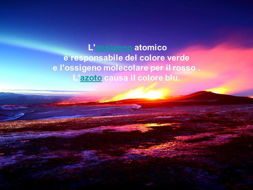 I particolari colori di un'aurora dipendono da quali gas sono presenti nell'atmosfera, dal loro stato elettrico e dall'energia delle particelle che li