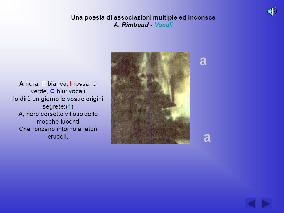Una poesia di associazioni multiple ed inconsce A. Rimbaud - VocaliVocali A nera, E bianca, I rossa, U verde, O blu: vocali Io dirò un giorno le vostr