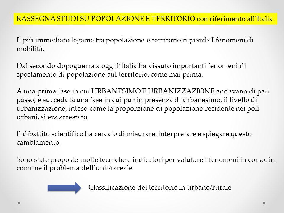 RASSEGNA STUDI SU POPOLAZIONE E TERRITORIO con riferimento allItalia Il più immediato legame tra popolazione e territorio riguarda I fenomeni di mobilità.