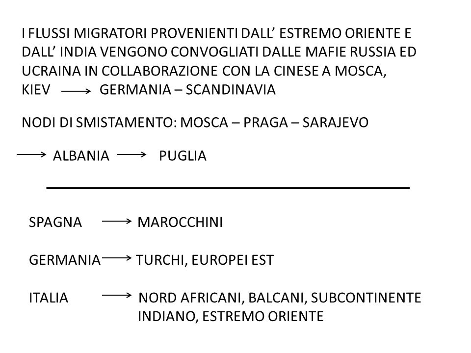 TRAFFICKING = attività che gestisce il traffico illegale del migrante tra frontiere + sfruttamento SMUGGLING = solo gestione traffico le reti di trafficanti si sono specializzate e internazionalizzate coinvolgendo elementi dei paesi d origine + paesi di transito + paesi di destinazione