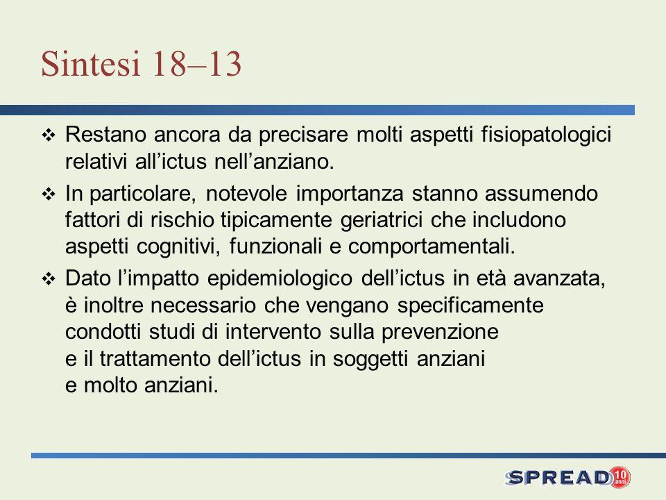 Sintesi 18–13 Restano ancora da precisare molti aspetti fisiopatologici relativi allictus nellanziano. In particolare, notevole importanza stanno assu