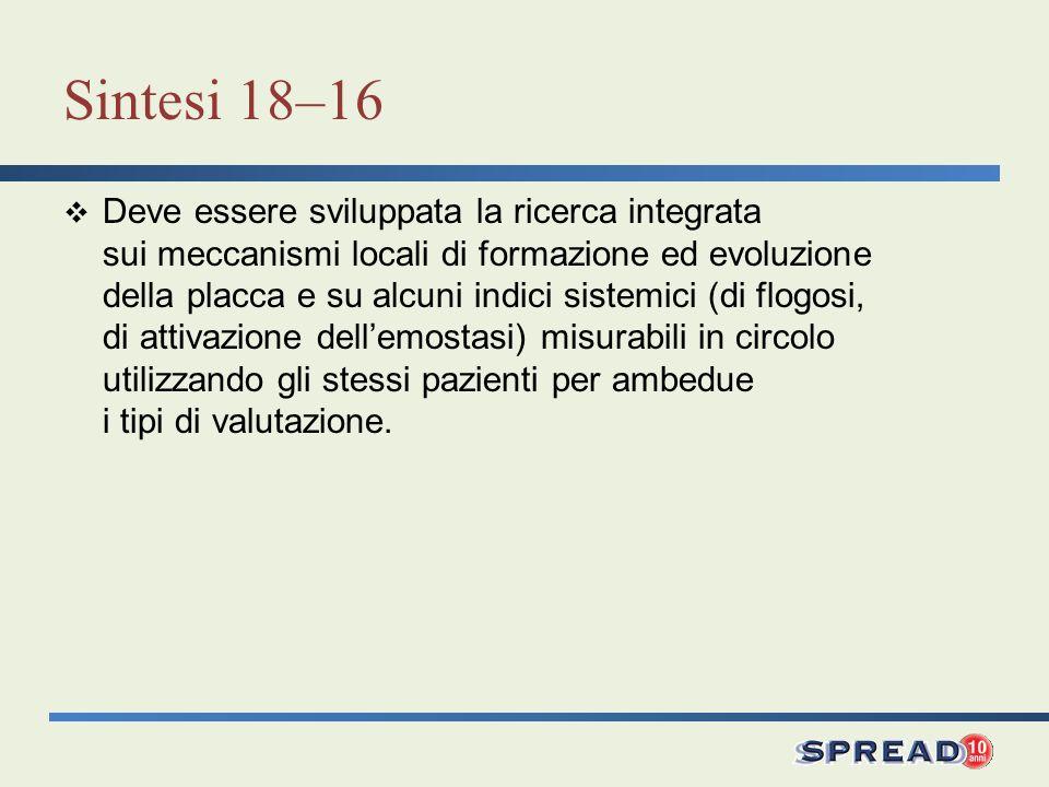 Sintesi 18–16 Deve essere sviluppata la ricerca integrata sui meccanismi locali di formazione ed evoluzione della placca e su alcuni indici sistemici