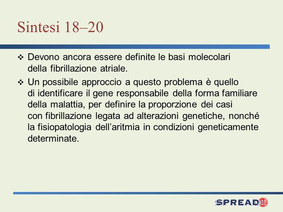 Sintesi 18–20 Devono ancora essere definite le basi molecolari della fibrillazione atriale. Un possibile approccio a questo problema è quello di ident