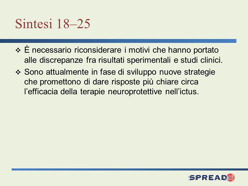 Sintesi 18–25 È necessario riconsiderare i motivi che hanno portato alle discrepanze fra risultati sperimentali e studi clinici. Sono attualmente in f