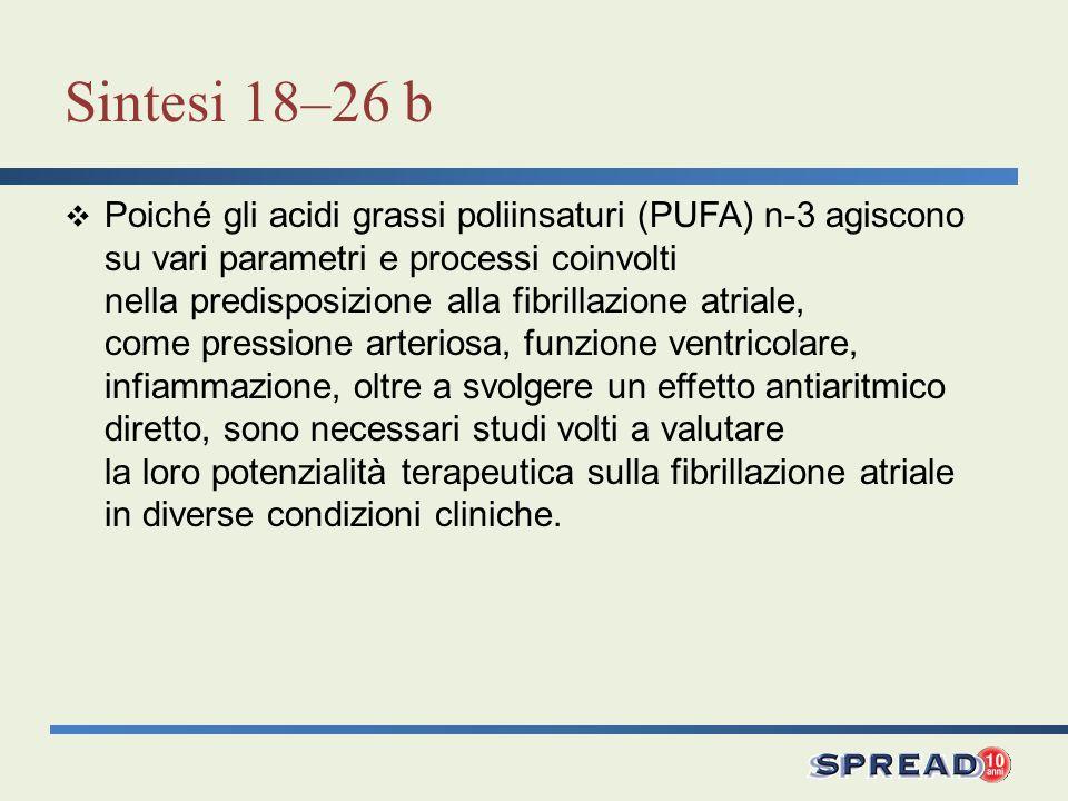 Sintesi 18–26 b Poiché gli acidi grassi poliinsaturi (PUFA) n-3 agiscono su vari parametri e processi coinvolti nella predisposizione alla fibrillazio