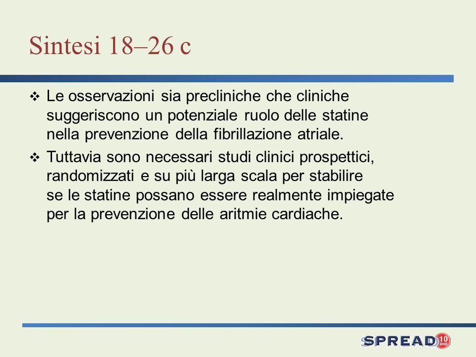 Sintesi 18–26 c Le osservazioni sia precliniche che cliniche suggeriscono un potenziale ruolo delle statine nella prevenzione della fibrillazione atri