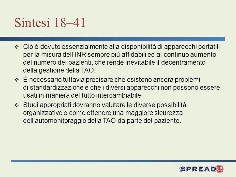 Sintesi 18–41 Ciò è dovuto essenzialmente alla disponibilità di apparecchi portatili per la misura dellINR sempre più affidabili ed al continuo aument
