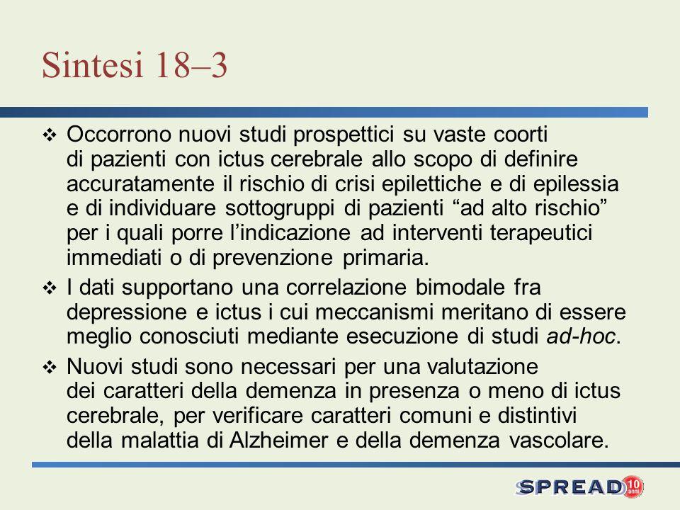 Sintesi 18–13 Restano ancora da precisare molti aspetti fisiopatologici relativi allictus nellanziano.