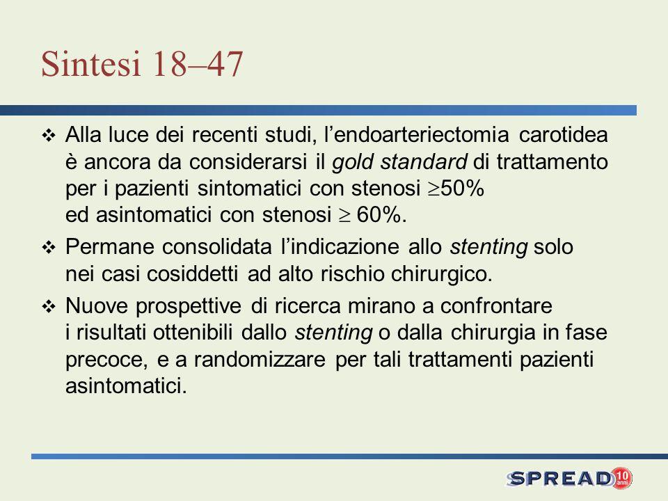 Sintesi 18–47 Alla luce dei recenti studi, lendoarteriectomia carotidea è ancora da considerarsi il gold standard di trattamento per i pazienti sintom