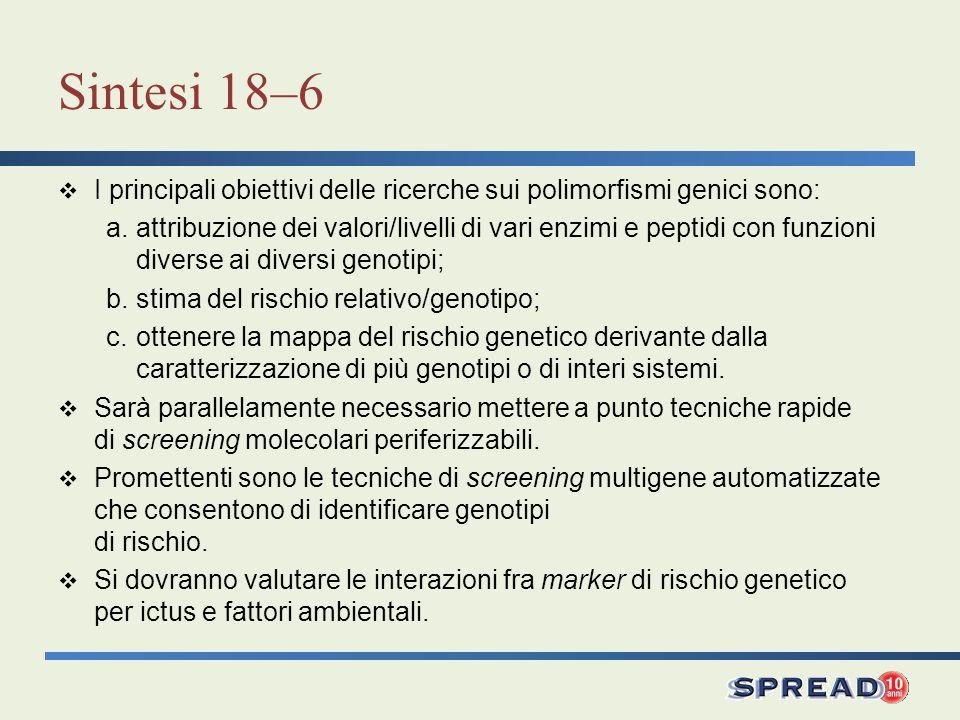Sintesi 18–6 I principali obiettivi delle ricerche sui polimorfismi genici sono: a.attribuzione dei valori/livelli di vari enzimi e peptidi con funzio