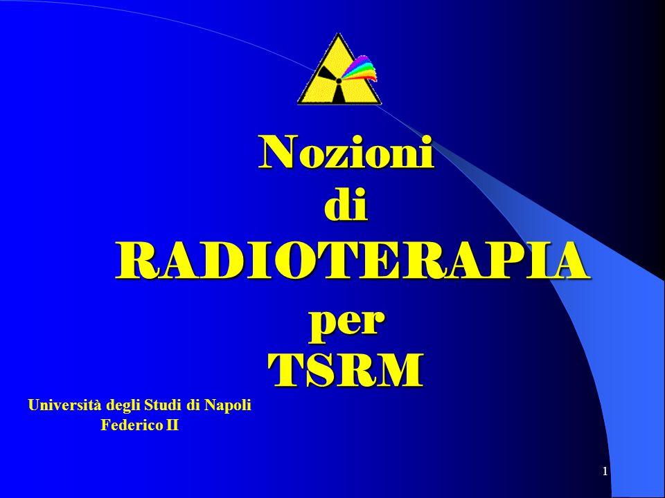 1 Nozioni di RADIOTERAPIA per TSRM Università degli Studi di Napoli Federico II