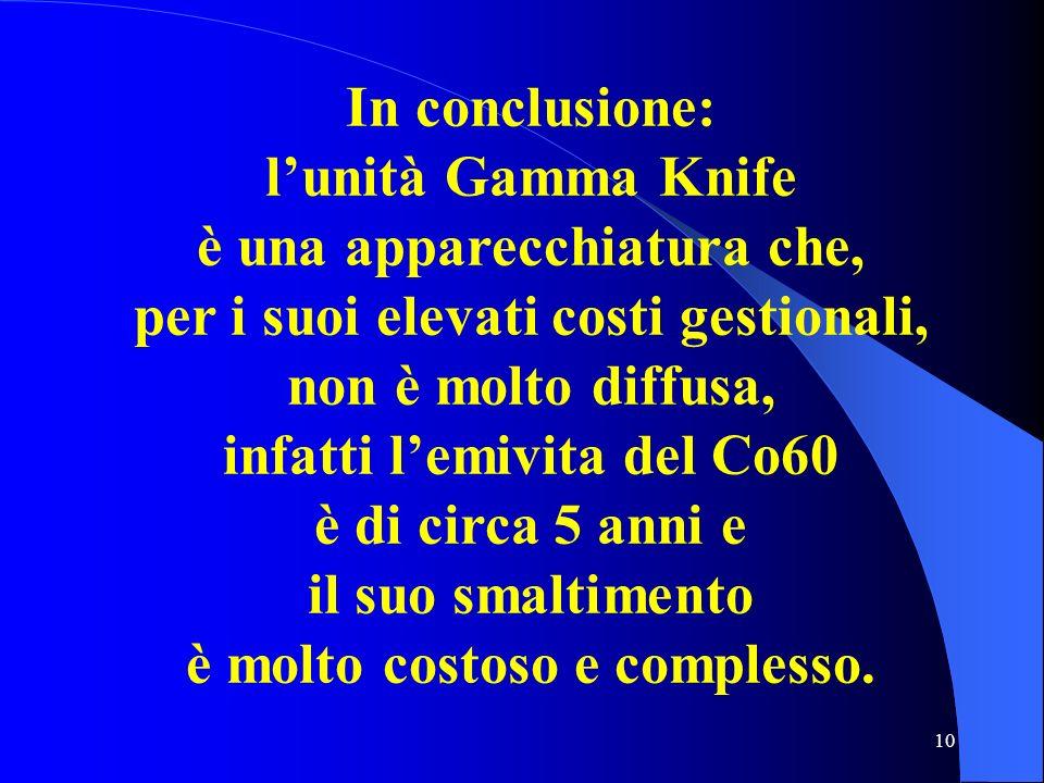 10 In conclusione: lunità Gamma Knife è una apparecchiatura che, per i suoi elevati costi gestionali, non è molto diffusa, infatti lemivita del Co60 è