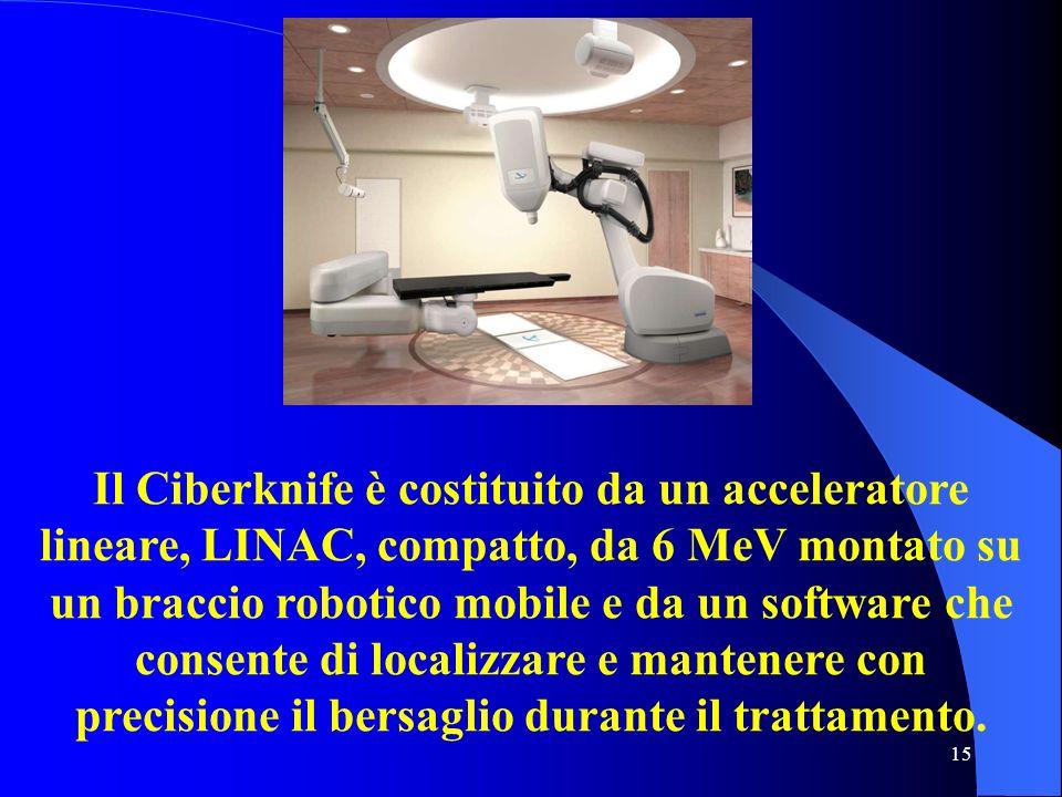 15 Il Ciberknife è costituito da un acceleratore lineare, LINAC, compatto, da 6 MeV montato su un braccio robotico mobile e da un software che consent